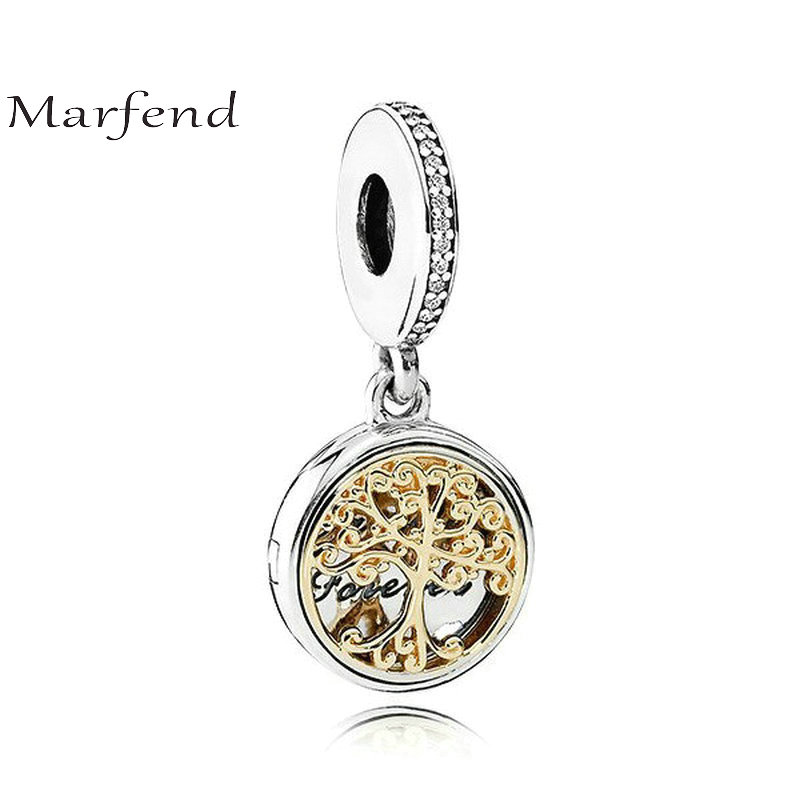 Marfend Fine 100% Silver 925 14K Gold Tree Family Source Charms Beads Fit Original Charms Bracelet & Pendant Women Jewelry адресник my family charms номер 1 белый средний