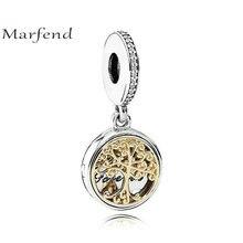 0f356a4d525e Marfend bien 100% plata 925 14 K de oro Árbol de la familia fuente encantos  Fit Original pulsera de encantos y colgante de las m.