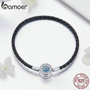 Image 3 - BAMOER Authentic 925 Sterling Silver Blue Eyes Leather Bracelets for Women Bracelets Bangles Sterling Silver Jewelry SCB113