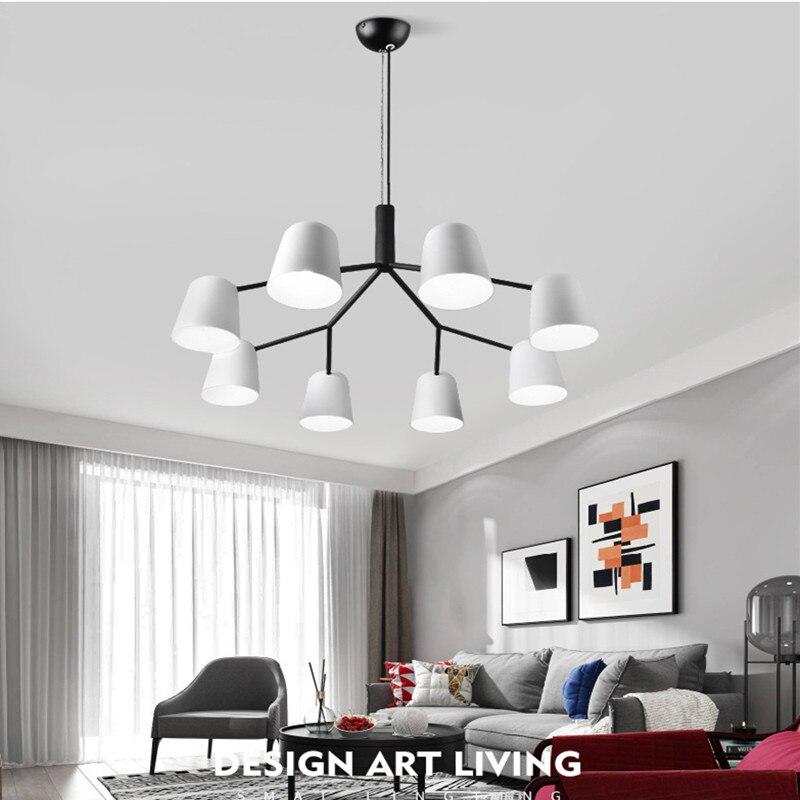 3/6/8/10 têtes Loft Italie Designer led Lustre Moderne Romantique Mater Chambre Blanc En Fer Forgé dîner Léger Livraison Gratuite