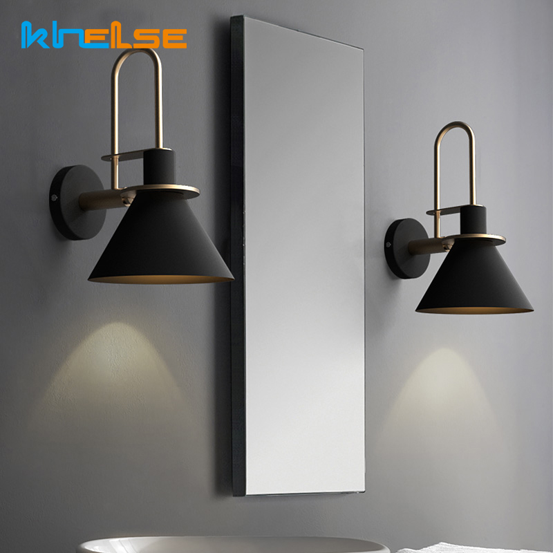 US $36.92 36% OFF|Nordic Mirror Wall Lamp Bedside Lamp Modern Bedroom E27  Wall Light Living Room Walkway Stair Simple Iron Clarion Lighting Decora-in  ...