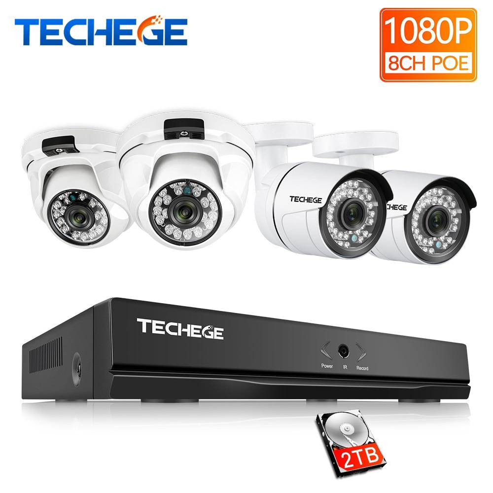 Techege 8CH plein 1080 P POE NVR kit 2.0MP 3000tvl Nuit Vision caméra dôme IP POE Caméra P2P Nuage Surveillance kit cctv système