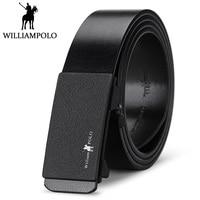 WilliamPolo Men Belt Genuine Leather Formal Style Black Belts For Men 2018 New Design Frosted Buckle Waist Strap Husband Gift