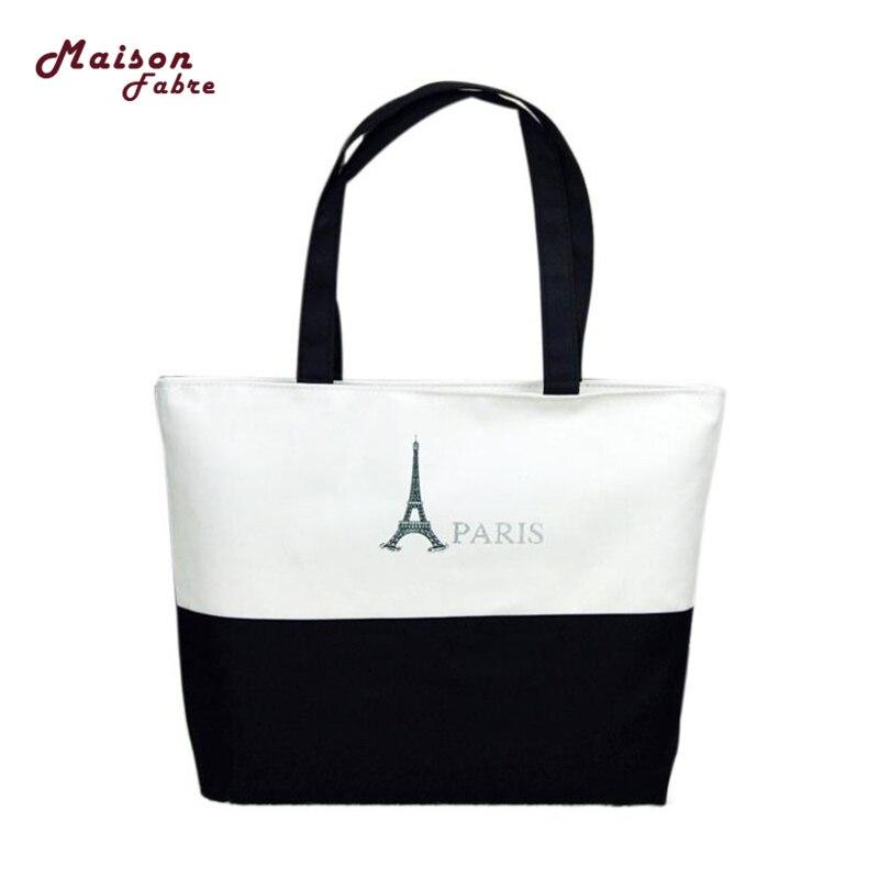 Canvas Eiffel Tower Pattern Girls Shopping Shoulder Bags Handbag Beach famous designer purses and Lunch bag 2018 O0502#30