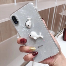 Cute Cartoon 3D Dolphin Phone Cases on For iPhone X XS Max 6 6s 7 8 Plus XR Love Transparent Soft Silicone Tpu Cover Coque Gift