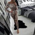 Popular Outono Mulheres Sólidos Magro Velvet Fora Do Ombro Strapless Tops Longo Escavar Calças Jumpsuit