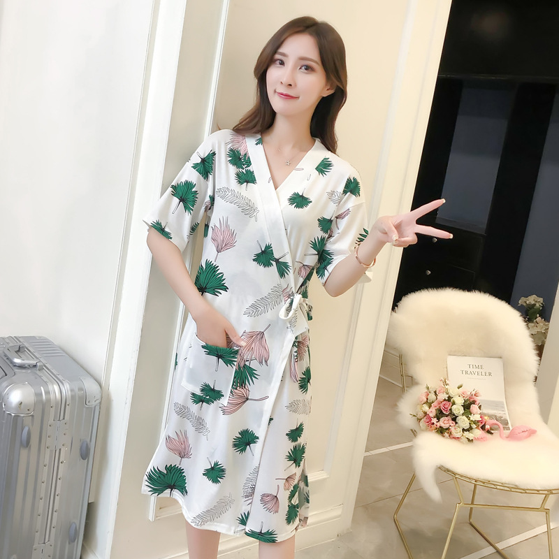 Women nightgowns Short Sleeve V-neck Cotton Nightdress Sashes Nightgown Sexy Elegant Sleepwear Nightwear With Waist Bandage