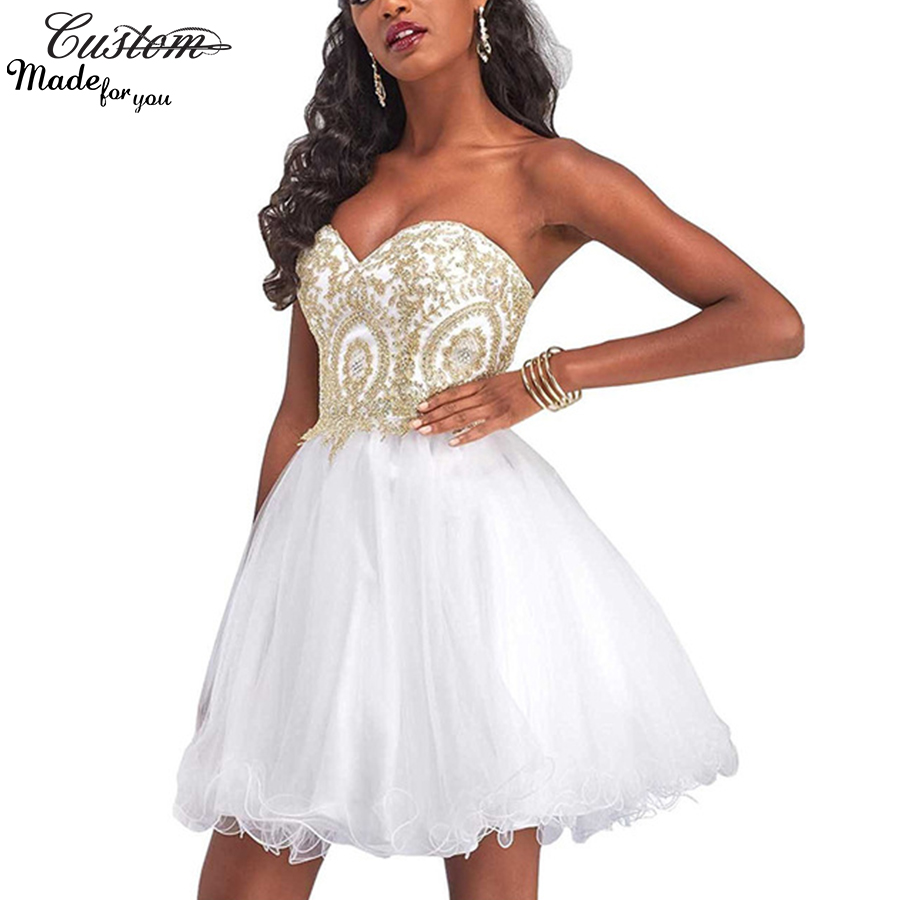 Cheap Masquerade Formal Party Dress Ball Gowns White Prom Dresses Short 2017 Gold Applique Sparkly Vestidos Plus Size