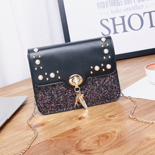 Women Sequin Shoulder Bags Shiny Glitter Chain Bag PU Leather Flap Party Crossbody Messenger Bag Fashion Ladies Handbags