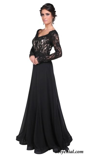 e2f22cc2c Elegante Vestido de noche largo de encaje negro la madre de noche Formal  vestidos manga larga