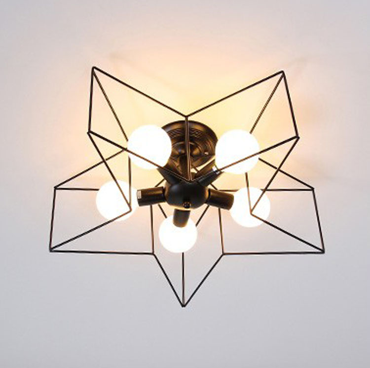 Vintage 5 E27 Bulb Mini Modern Star Ceiling Lamp Home Deco