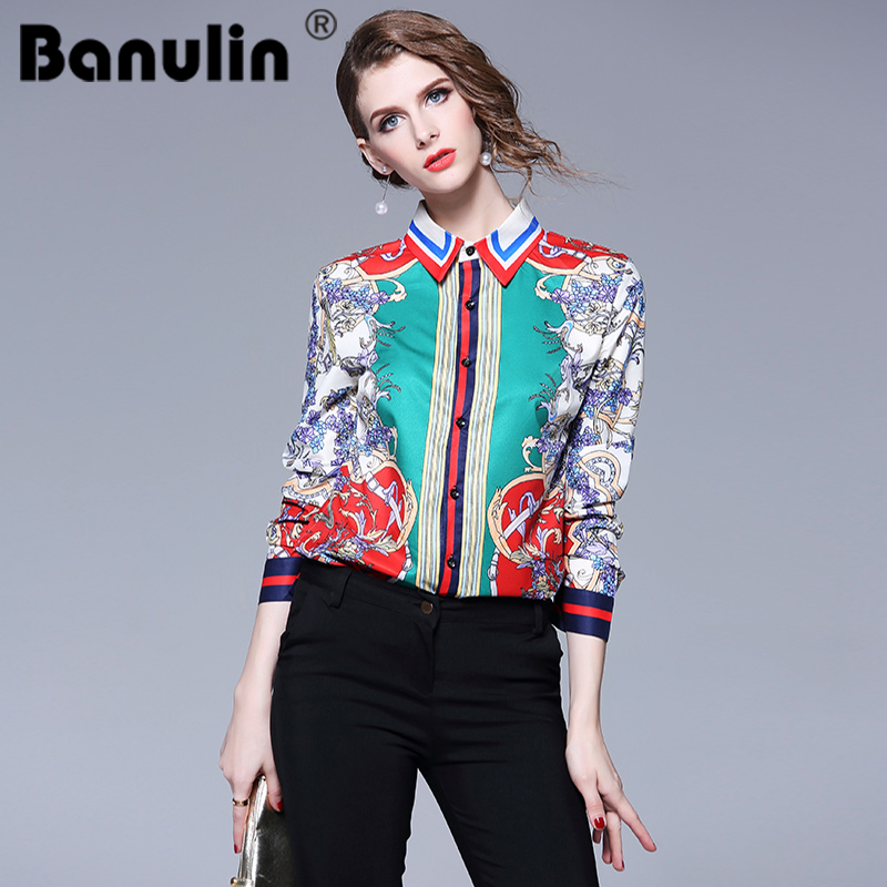 Banulin 2018 Runway Vintage Elegant Floral Print Women   Blouse   Top Long Sleeve Spring Autumn Fashion Lady's Casual   Blouse     Shirts