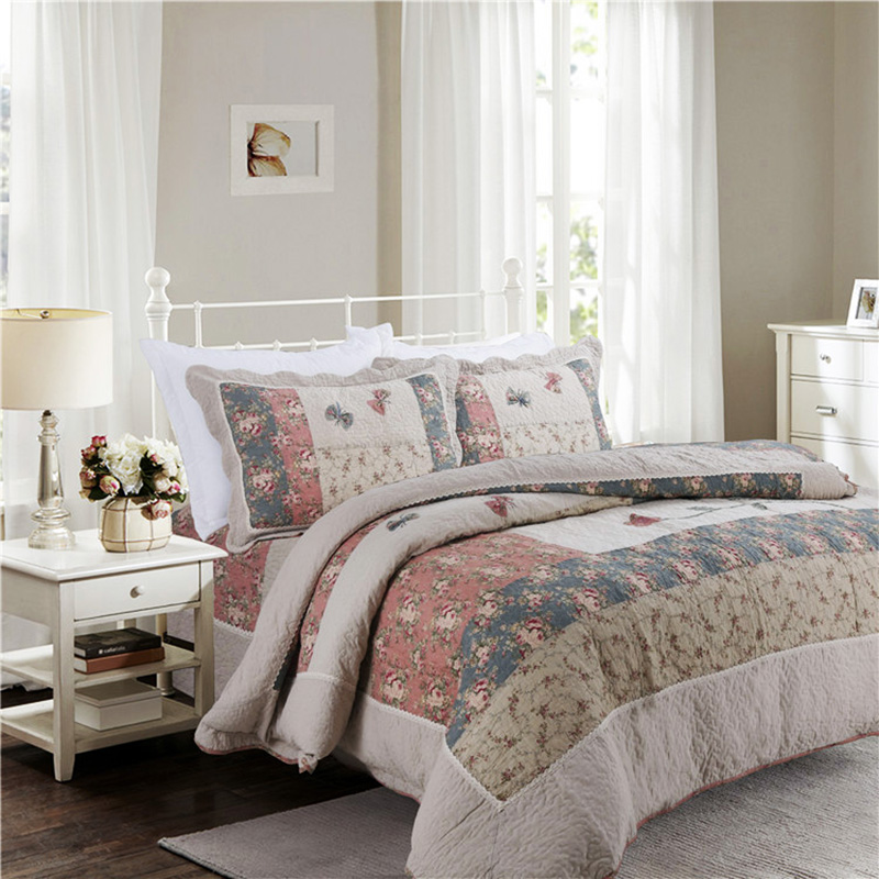 CHAUSUB Cotton Patchwork Quilt Set Korean Style Bedspread Bed Cover 3Pcs/4Pcs Quilted Be ...