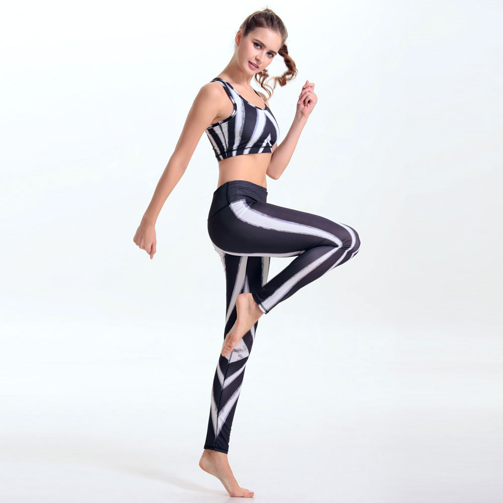 Fashion Fitness Workout Clothing And Women Girls Morning Exercise <font><b>Slim</b></font> Leggings+Tops Women Yuga Sets Bra+Pants For Female