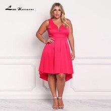 Lan Karswear 2017 Summer Deep V-neck Sleeveless Tank Dress Plus Size Women Clothing Big Size Free Shipping