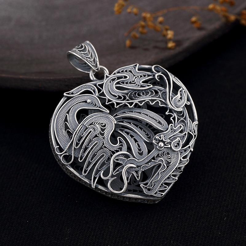 Phoenix Love Heart Shape 925 Sterling Silver Diy Pendant Charms Women Costume Jewelry Fit Pendant Necklace Suspension HP035 цены