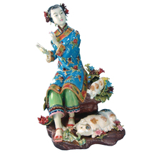Antique Chinese Lady Ceramic Statue Pure Manual Figure Craft Collectible Porcelain Vintage Figurine for Christmas Gifts
