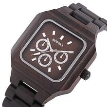 New Bewell Men Watch Full Wooden Quartz Watch Fashion Casual Watches Nature Square Relogio Masculino Clock Men Wristwatch