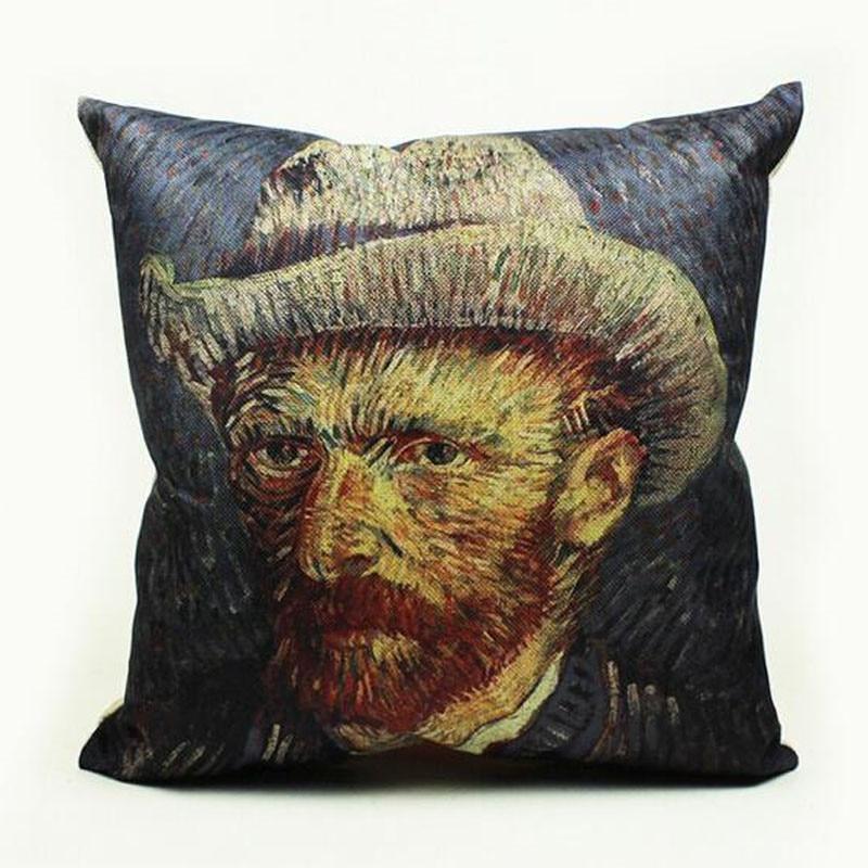 What Size Throw Pillow For Chair : Van Gogh Cotton Linen Cushion Cover Van Gogh s works Print Throw Pillow Chair Waist Square ...