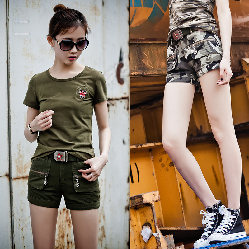 8feb9dbf2a2 Womens Summer Casual Fashion Camouflage Army Green Straight Mid Waist  Multiple pockets Short Pants Girls Plus Size Cargo Shorts