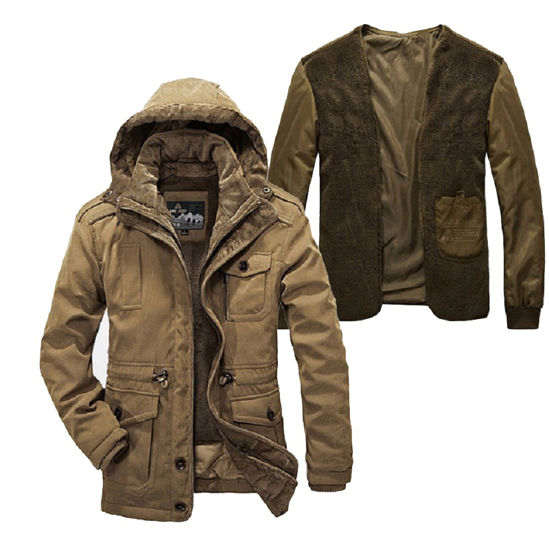 Two Pieces Winter Jacket Men Plus Size Super Warm Thickening Wool Liner Parka Men Brand Clothing AFS JEEP Parka Winter Coat Men