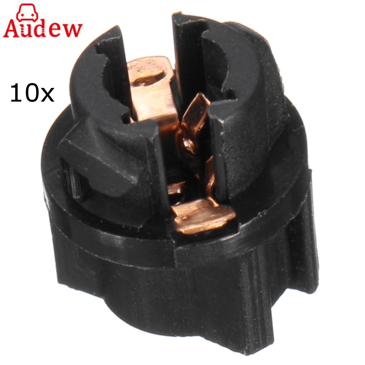 10pcs T5 Base Car Instrument Light Socket Twist Lock For PC74 Instrument Panel Cluster Plug Dash Light Bulb
