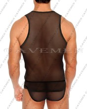 Man See-through dress Fit vest Two piece suit3422*sexy men lingerie Men Sexy T-Back Thong G-String Brief Underwear free shipping