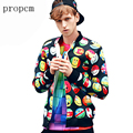 2017 New Fashion Mens Jackets 3D Print Expression Pack Button Bomber Jacket Autumn Coats Tactical Men Long Sleeve Streetwear