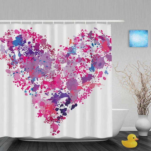 Heart Shape Paint Wedding Shower Curtain Spatter Effect Bathroom Curtains For Valentine Waterproof Polyester Fabric With