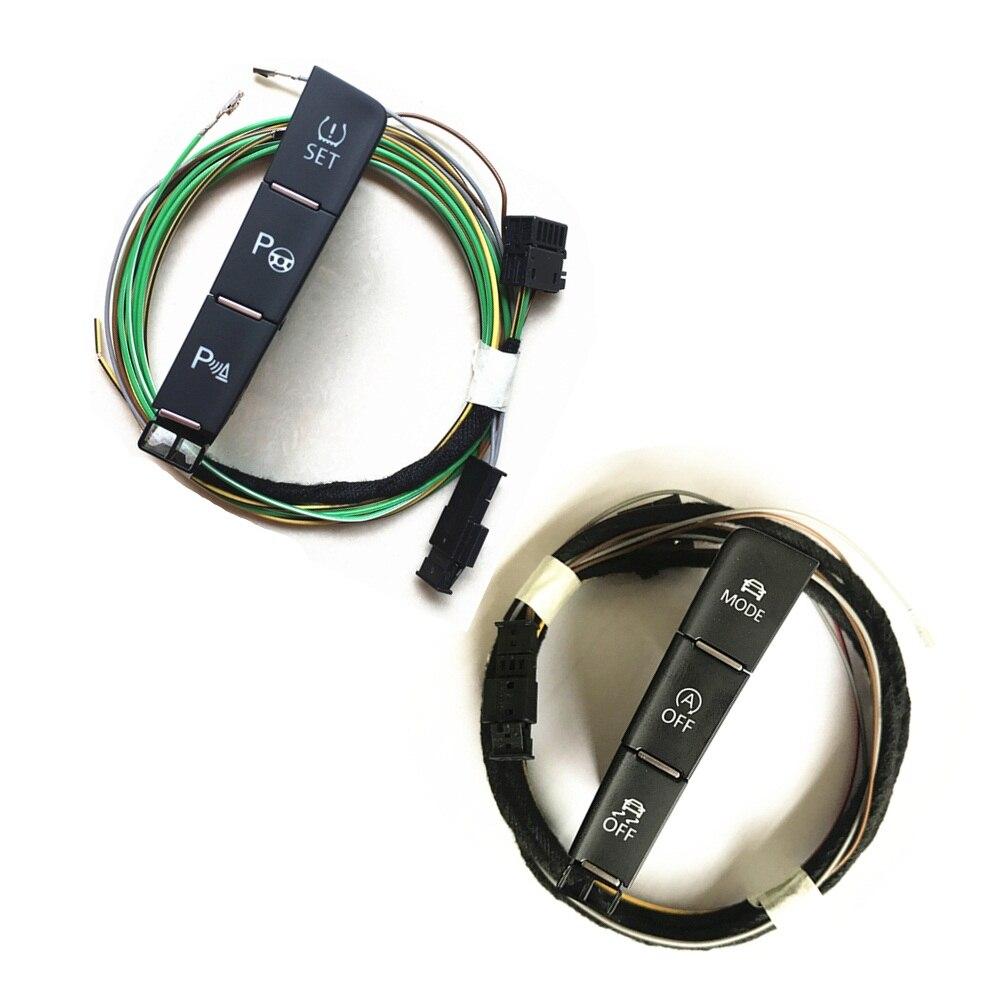 Pour VW Golf 7 MK7 Voiture ESP OFF Mode Mode De Conduite radar de Recul Aide au Stationnement Surveillance de Pression Des Pneus Interrupteur Bouton + câble