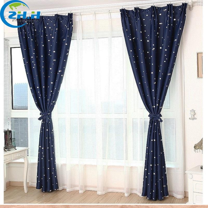 Single Panel ) Modern Hooking Blackout Children Curtains Star ...