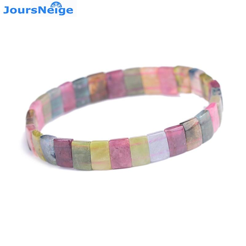 Wholesale JoursNeige Full Rainbow Tourmaline Natural Stone Bracelet Beads Hand Row Multi Color Bracelets for Women Gift Jewelry