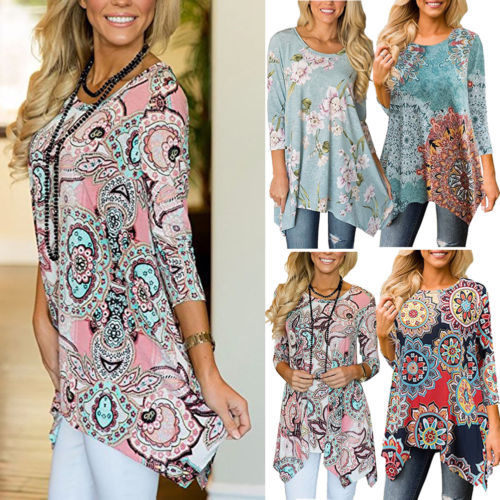 1e1e2204248 US $7.54 17% OFF|Plus Size Womens Holiday Tops 2018 New Fashion Summer  Casual Loose Floral Blouse Beach Ladies Floral Shirt Plus Size S 2XL-in  Blouses ...