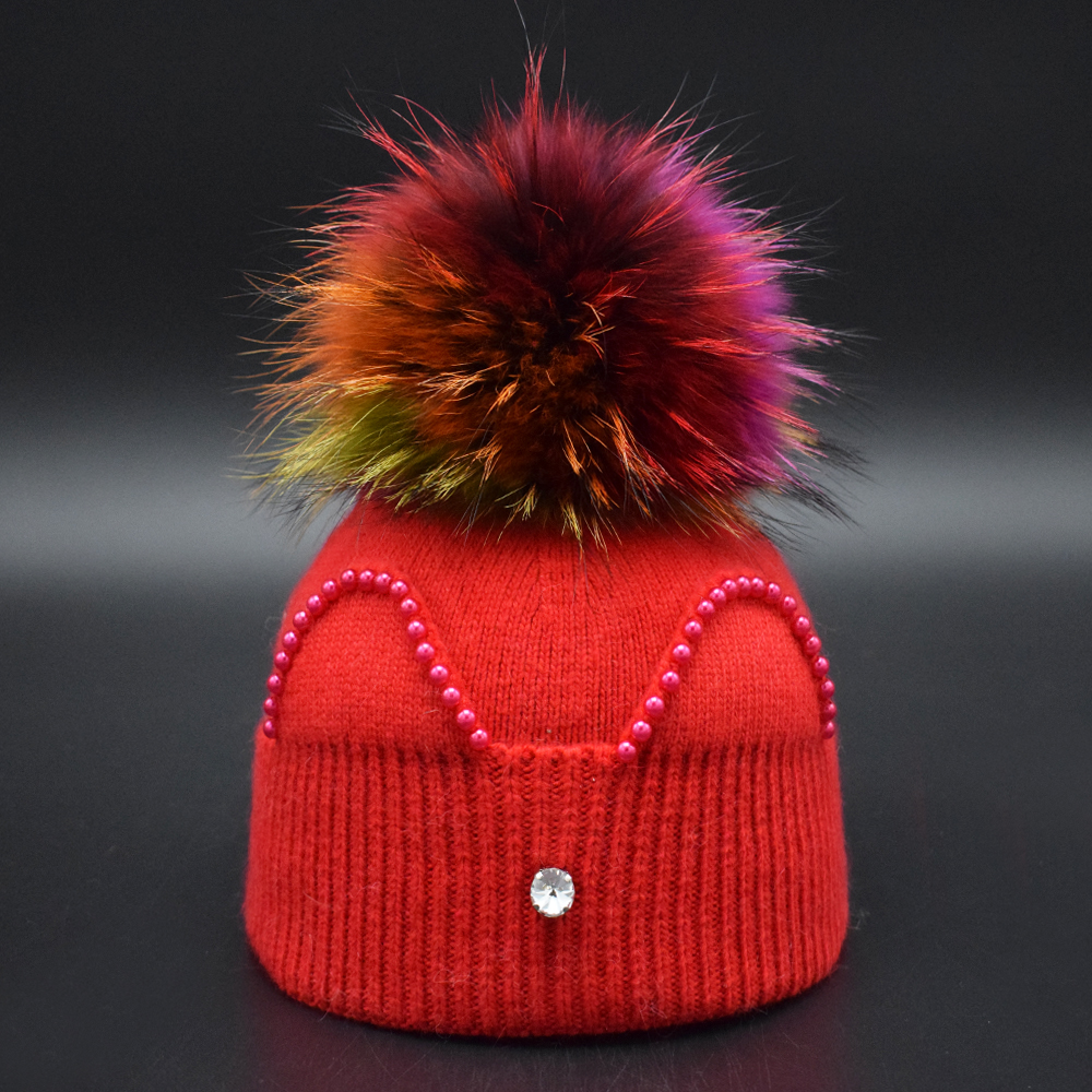 Winter Cute Baby Girls hat Children Real Fur pompoms Hat 1-8 Years Kids Warm knit caps Winter Multi-color Fur ball Girls Beanie bomhcs hat scarf set autumn winter kids warm handmade knit beanie cartoon animal dinosaur cap for head 45 50cm