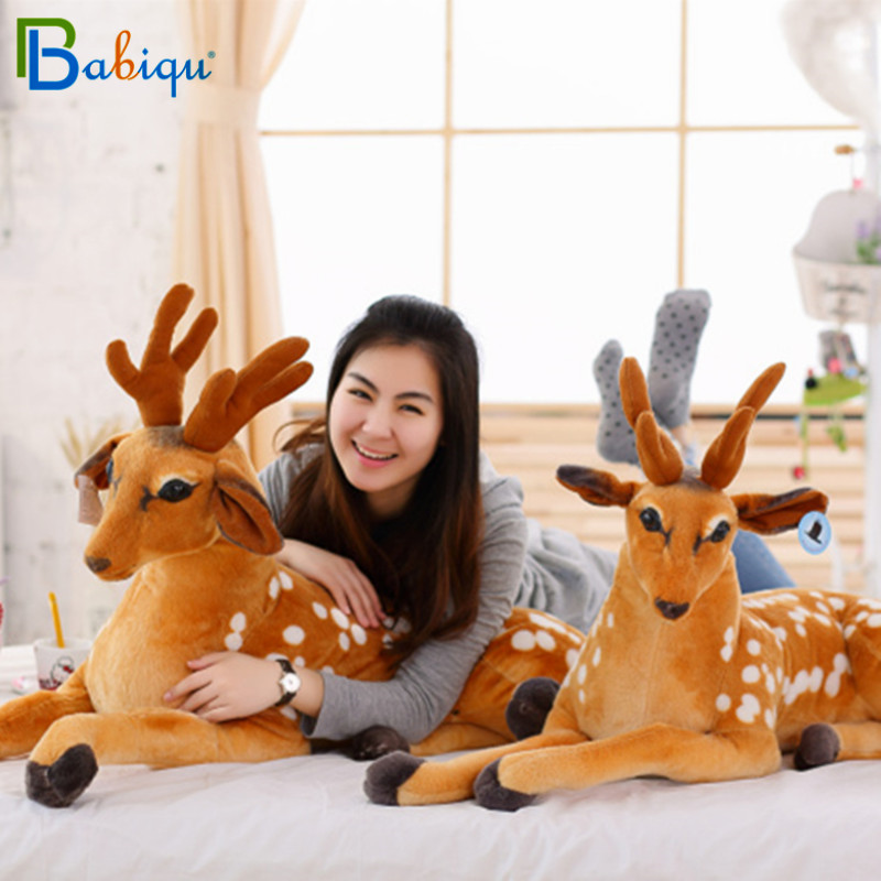 Babiqu 1pc 75-110cm Big Simulation Animal Sika Deer Plush Toys Stuffed Cute Giraffe Dolls for Kids Baby Creative Home Decor Gift free shipping emulate sika deer plush animal stuffed toy gift for friend kids children kids boys birthday party gifts zoo king
