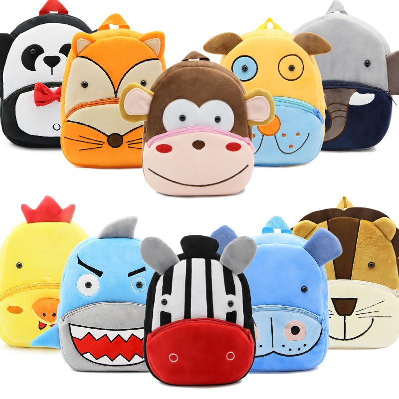 BOSEVEV Plush Children Backpacks Cartoon Girl Boys Kindergarten Schoolbag Animal Kids Backpack Children School Bags DropShipping