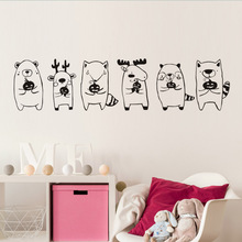 New arrival Cute Animal Babies Holding Pumpkin Wall Stickers For Kids Room DIY Decals Party Halloween Decoration mural