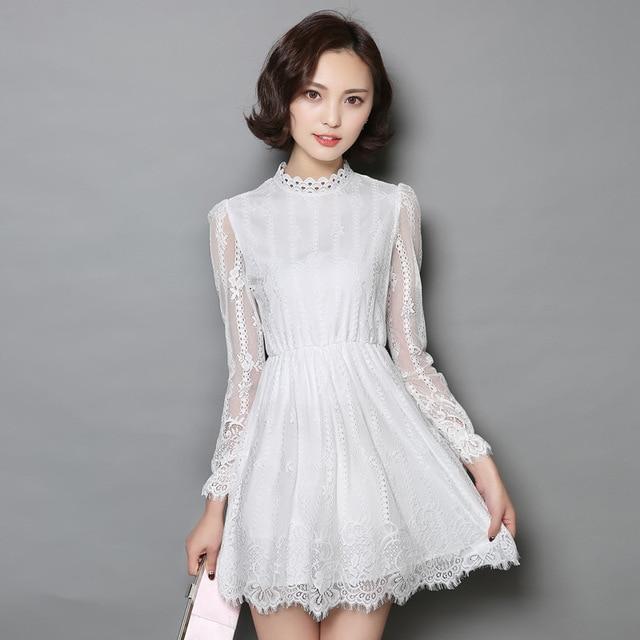 Vestido manga longa croche