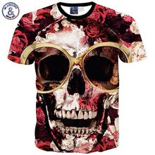 2017 Mr.1991INC Fashion streetwear Tshirt Men/boy HipHop 3d t-shirt humorous print Big Glasses Skull Roses T-shirt males Tops T11