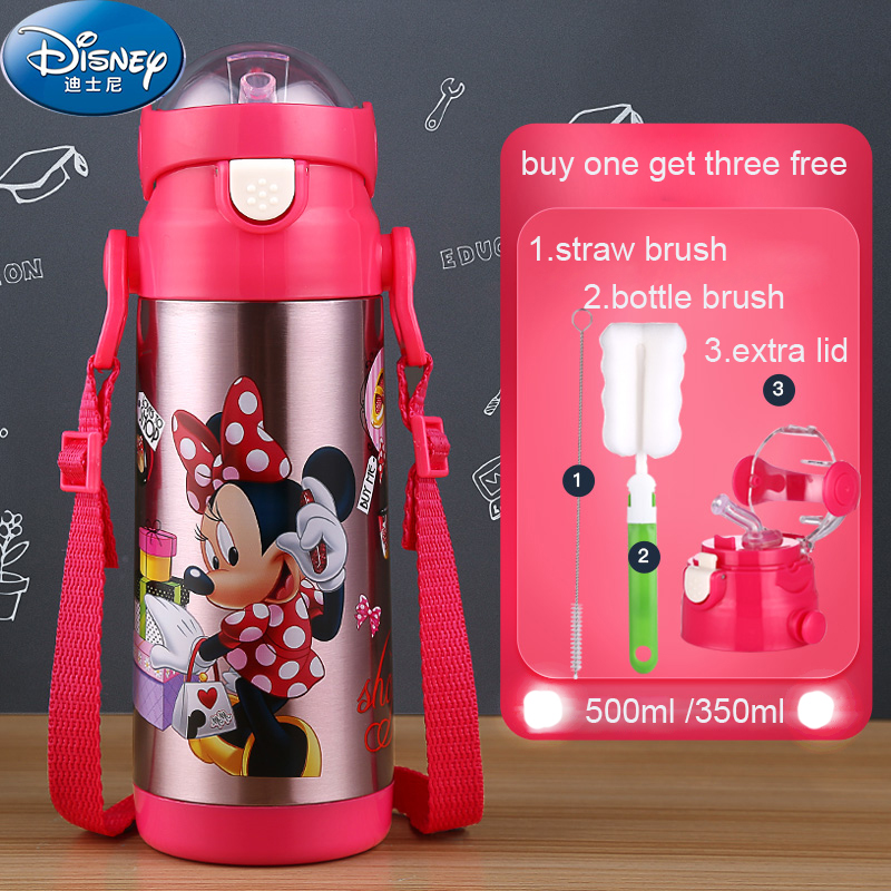 Disney Stainless Steel 500ml Thermal Cup With Straw Water Bottles for Kids Milk Cup Thermos Straw
