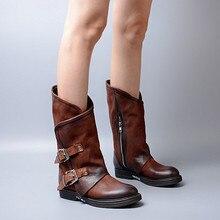 2016 Autumn New Round Toe Leather Boots Buckle Single Women Black Motorcycle Boot Female Low-heeled Martin Australia Shoe Warm