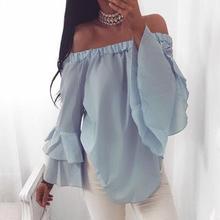 Ruffle Sleeve Elegant Women Blouse Chiffon Blouse Sexy Off Shoulder Chiffon Tops Casual 2017 Summer Ladies Blouse Shirt LJ9930Y