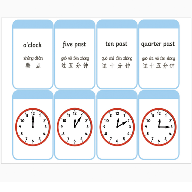 3Pcs/Set Learn English Early Education Card Clock Expression Poster ...