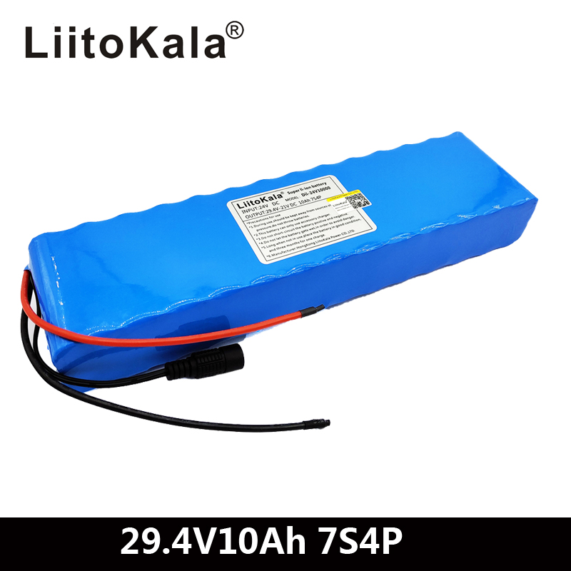 Liitokala DC 24V <font><b>10ah</b></font> 18650 Battery lithium battery <font><b>29.4V</b></font> Electric Bicycle moped /electric/lithium ion battery pack image