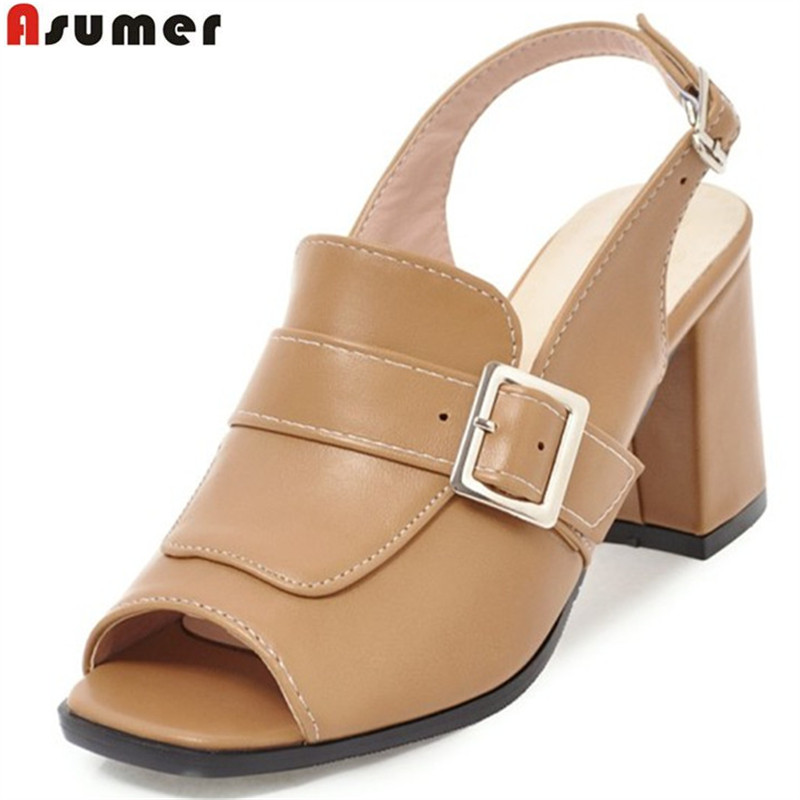 ASUMER 2018 fashion new arrival sexy peep toe buckle summer ladies shoes square heel women high heels sandals plus size 34-46