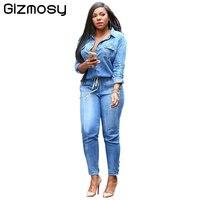 1 PC 2017 Kombinezony Dżinsy Europy Kobiet Kombinezon Kombinezony Denim Koszulka Z Długim Rękawem Pajacyki Dziewczyny Spodnie Jeans Body BN778 S-XXL