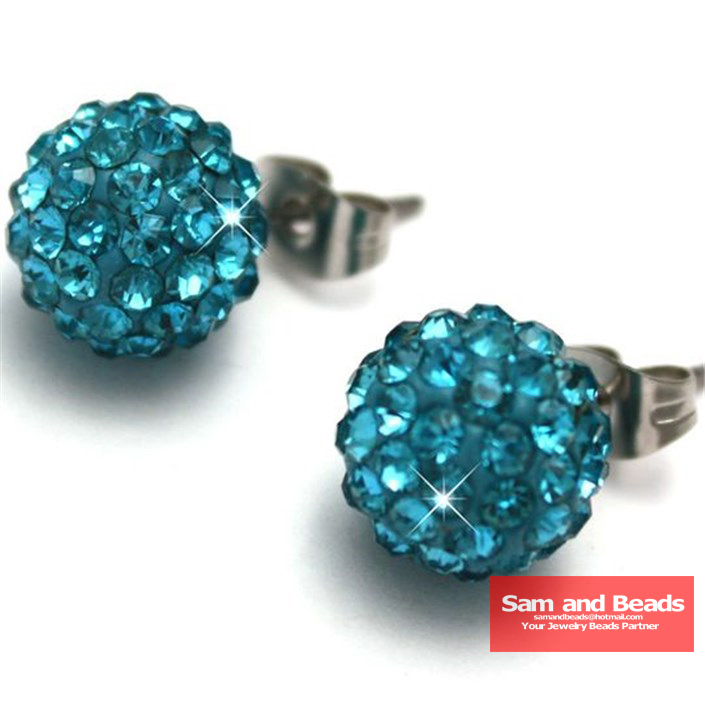 10mm Turquoise Disco Ball Shamballa Earrings Jpg