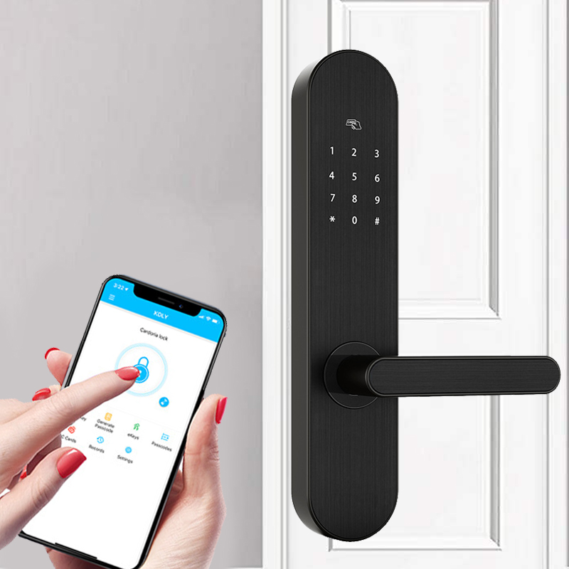 Serrure sans clé à domicile de sécurité, serrure d'empreinte digitale de porte intelligente, mot de passe Wifi serrure de carte RFID télécommande de téléphone App sans fil