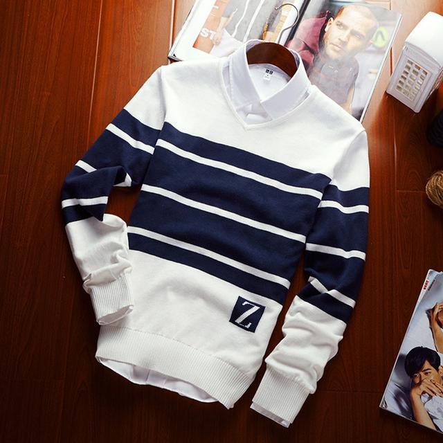 Camisola masculino 2016 Outono nova Lã da listra da cor dos homens de Slim Com Decote Em V roupas de lazer dos homens blusas de Marca plus size puxar homme