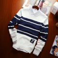 Sweater male 2016 Autumn new men's Slim V-neck stripe color Wool leisure men's clothing Brand sweaters plus size pull homme